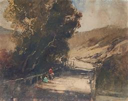 Sale 9161 - Lot 508 - TOM GARRETT (1879 - 1952) Untitled (Resting Along the Track) monotype 17 x 22 cm (frame: 36 x 39 x 2 cm) signed lower right. Provena...