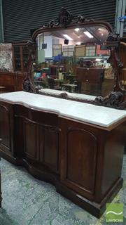 Sale 8375 - Lot 1047 - Victorian Mahogany Sideboard, with mirrored back above a thick-gauge white marble top