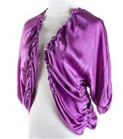 Sale 8493A - Lot 27 - A 100% purple silk vintage Carla Zampatti ruched 3/4 sleeve top, size S