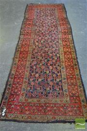 Sale 8520 - Lot 1021 - Antique Persian Wool Runner, with repeating boteh on black ground & red floral border (305 x 101cm)