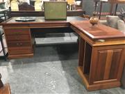 Sale 8769 - Lot 1023 - Timber Corner Desk with Leather Top