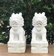 Sale 8772A - Lot 52 - A Pair Of Carved Marble Temple Guardian Qi Lin Foo Dog Statues General Wear Size: 30 cm H x 16cm W