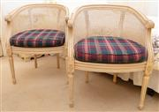 Sale 8990H - Lot 58 - A pair of Cane backed French bergeres with removable tartan cushions, height of back of bergere 77cm