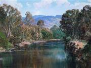 Sale 8992 - Lot 511 - John Downton (1939 - ) - From Distant Hills Ye Wander Forth, Molesworth, Victoria, 1984 44.5 x 59.5 cm (frame: 66 x 81 x 5 cm)