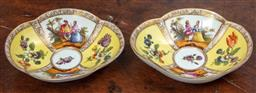 Sale 9120H - Lot 24 - A pair of Meissen segmented yellow ground dishes featuring courting and floral scenes, Width 15cm