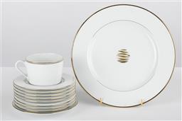 Sale 9255H - Lot 7 - Christofle Rubenea Gris  porcelain including; 1 cup, 9 saucers, together with 1 Wakame gilt rimmed dinner plate.