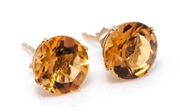 Sale 9246J - Lot 391 - A PAIR OF 14CT GOLD SOLITAIRE CITRINE STUD EARRINGS; each set with a round cut citrine of approx. 1.9ct, width 8mm, wt. 1.5g.