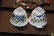 Sale 8285 - Lot 44 - Pair Of Famille Verte Wine Cups, Marks To Base