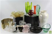 Sale 8512 - Lot 4 - Art Glass & Dressing Table Sets, Nut Cracker, Ceramics & Photo frames