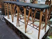 Sale 8589 - Lot 1020 - Set of Five Leather Seat Bar Stools