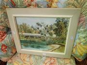Sale 8663 - Lot 2131 - H.M. Pittaway - Bridge, Watercolour SLR 29.5x37cm