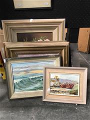 Sale 8720 - Lot 2097 - 5 Oil Paintings, Various Sizes