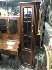 Sale 8822 - Lot 1828 - Timber and Glass Corner Cabinet
