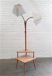 Sale 9071 - Lot 1062 - Retro Floor Lamp with Table Base (h:180 xw:50 x d:50cm0