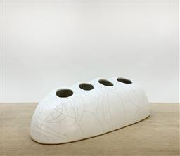 Sale 9252AD - Lot 5040 - IKEBANA VASE (Showa Period): white crackle with four
