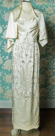 Sale 8420A - Lot 12 - A beautiful 1940's vintage silk satin embroidered/beaded wedding dress featuring silver thread embroidery diamante and beaded detail..