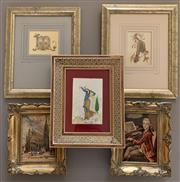 Sale 8510A - Lot 62 - A small group of framed prints and tapestries, together with a Persian miniature of a water carrier