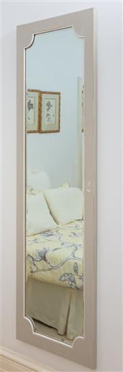 Sale 8990H - Lot 59 - A grey painted bevelled edge fancy shaped mirror, 173cm x 50cm