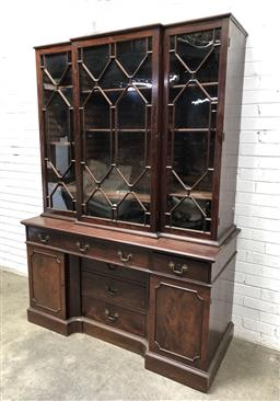 Sale 9126 - Lot 1004 - George III Mahogany Breakfront Bookcase, with three astragal panel doors, above three frieze drawers & two panel doors, flanking a r...