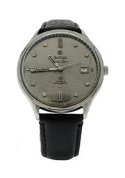 Sale 8406A - Lot 39 - Large vintage mens Titoni space star wristwatch, 30 jewel Swiss automatic, grey dial in stainless case, 37 mm, in working order