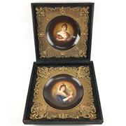 Sale 8545N - Lot 91 - Pair of Royal Vienna Style Framed Plates (38cm x 38cm)