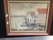 Sale 8663 - Lot 2028 - H.M. Pittaway - Boat Sheds Lavender Bay, Oil, SLR, 29x36.5cm