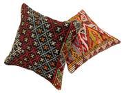 Sale 8725C - Lot 61 - A Pair of Vintage Turkish Kilim & Hemp Cushions, Wool, 50x50cm, RRP $350