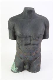 Sale 8802 - Lot 394 - Cast Metal Sculpture of a Mans Torso ( H 32cm x W 22cm Weight Approx 6kgs)