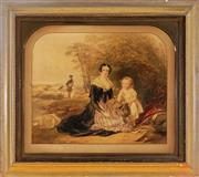 Sale 9001 - Lot 544 - Edward Henry Corbould (1815-1905) - Family Trout Fishing, 1843 49 x 59 cm (frame: 79 x 88 x 4 cm)