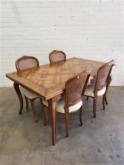 Sale 9097 - Lot 1014 - French Style Probably Cherrywood Dining Setting, including parquetry top draw-leaf extension table, on cabriole legs & four beech ca...