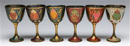 Sale 9173 - Lot 83 - A Collection Of Six Colourful Brass Wine Cups Depicting Peacocks (Made In India)
