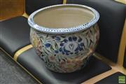 Sale 8289 - Lot 1054 - Painted Planter Pot