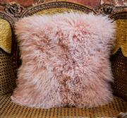 Sale 8420A - Lot 64 - A pink Tibetan lamb fur cushion, 40cm x 40cm, condition: new