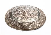 Sale 8517A - Lot 2 - An oval form silver belt buckle repousse with floral design decorations, Sumatran, 38g, L 11cm