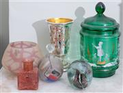 Sale 8653A - Lot 61 - A group lot of glasswares including a Mary Gregory green glass canister, H 21cm, signed artglass perfume bottle, paperweight etc