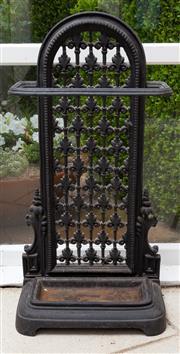 Sale 8677B - Lot 501 - A decorative Iron umbrella or stick stand. Height 72 x Width 36 x Depth 18cm