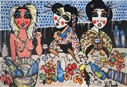 Sale 8968A - Lot 5026 - Yosi Messiah (1964 - ) - Girls Having Fun 122 x 178 cm