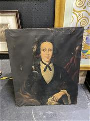 Sale 8888 - Lot 2017 - Artist Unknown (C19th) - Portrait of a Young Woman, oil on canvas (AF), unsigned