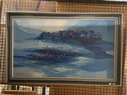 Sale 8924 - Lot 2021 - Artist Unknown - Floating Village oil, 58.5 x 93.5cm (frame) signed