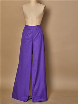 Sale 9093F - Lot 49 - A pair of Vintage Emilio Pucci Purple Cotton Flares Zip up back Size 12/14 Condition Dead Stock.