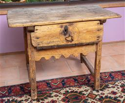 Sale 9120H - Lot 28 - A rustic pine Spanish colonial single draw table of peg construction, Height 75cm x Width 100cm x Depth 60cm   some damages and lo...