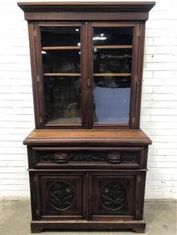 Sale 9126 - Lot 1016 - Late Victorian Aesthetic Style Carved Walnut Secretaire Bookcase, with two glass panel doors, the secretaire maple veneered interior...