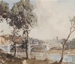 Sale 9161 - Lot 501 - MATTHEW JAMES MACNALLY (1874 - 1943) - Bridge Crossing & Town in the Distance, 1928 22 x 26 cm (frame: 46 x 48 x 2 cm)