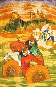 Sale 8483 - Lot 2033 - Kheng-Wah Yong (1945 - ) - Working in the Rice Fields 75 x 49cm