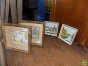 Sale 8483 - Lot 2070 - Pair of Gilt Framed Prints with Pair of Framed Prints on Tile (4)