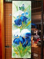Sale 8663 - Lot 2136 - Artist Unknown - Iris, Oil, SLR 75.5x25cm
