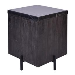 Sale 9180F - Lot 9 - A modern black with white vein marble top square side table. Brushed dark reclaimed timber base on mat black metal frame. (W 52cm x...