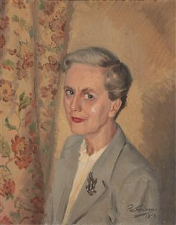Sale 9212A - Lot 5066 - PAUL FITZGERALD (1922 - ) Portrait Of A Lady, 1950 oil on canvas (AF) 50 x 40 cm (frame: 60 x 51 x 4 cm) signed and dated lower right