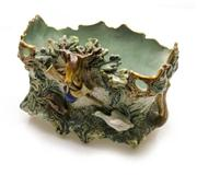 Sale 8362A - Lot 49 - An antique French Majolica jardinière decorated with hunting scenes, size 6 x 21 x 23cm