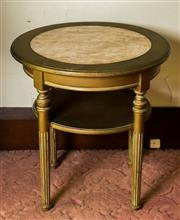 Sale 8418A - Lot 85 - A gilt painted circular timber occasional table with marble insert to top with lower shelf, H 62 x D 60cm